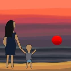"""Hladím si břicho s kopajícím miminkem, držím za ruku Michálka a pozorujeme západ slunce. Za chvíli křičí """"neni!"""", protože sluníčko zmizelo za obzorem. Chvíle vděčnosti. ☀️"""